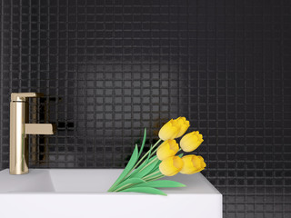 Sink and yellow flowers.