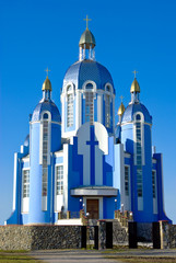 The knowledge of Christian Church on blue sky background