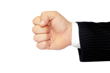 Man's hand isolated on a white background, clenched fist.