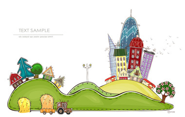 City and village, Happy world collection illustration