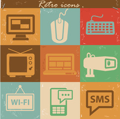 Media icons,Vintage version,vector