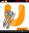 letter u with utensils cartoon illustration