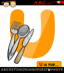 letter u with utensils cartoon illustration