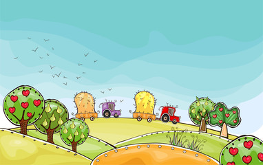 Traditional farm, organic concept background, Harvest