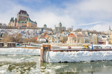 Quebec City Skyline a Cloudy Sky