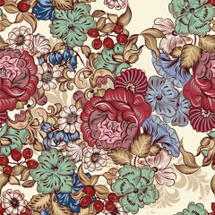 Floral seamless wallpaper pattern with flowers