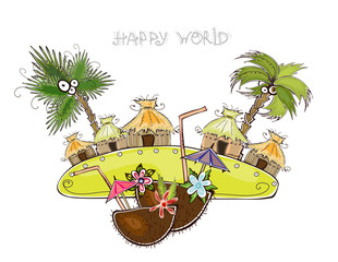 Jungle village travel background, Happy world collection