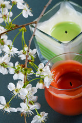 Branch with flowers of a cherry with candles