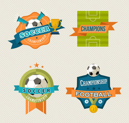Soccer vintage labels set