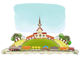 Train station illustration, Happy world collection