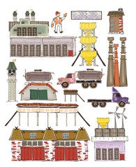 Industrial units set, Happy world collection