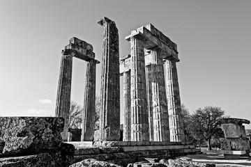 Black and White Ancient Temple of Zeus in the Nemea