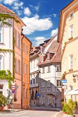 Enge Gasse in der Altstadt von Bamberg in Franken