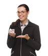 Mixed Race Businesswoman Holding Small House to the Side