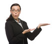 Surprised Mixed Race Businesswoman Gesturing with Hand to the Si
