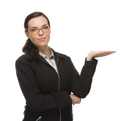Confident Mixed Race Businesswoman Gesturing with Hand to the Si