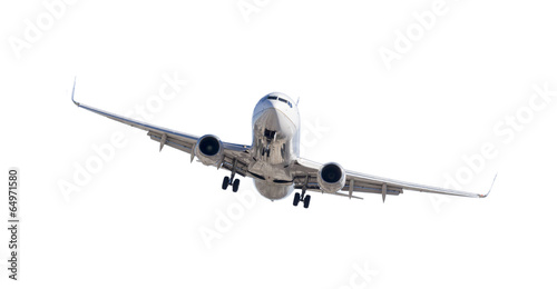 Foto op Plexiglas Vliegtuig Jet Airplane Landing Isolated on White
