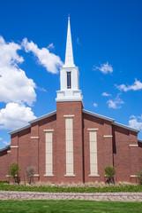Mormon church against blue sky