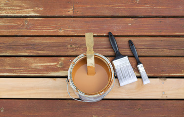 Preparing to Stain Wooden outdoor deck