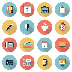 Business modern flat color icons.