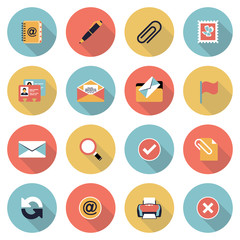 Email modern flat color icons.