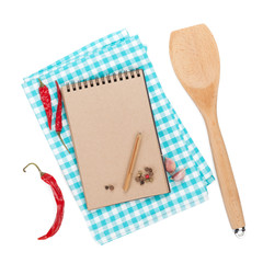 Blank notepad  with spices around