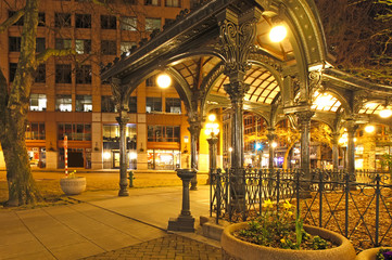 Pioneer square in Seattle. NIght view