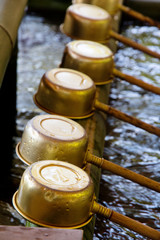 Ladles used for purification at the Nezu Shrine in Tokyo, Japan