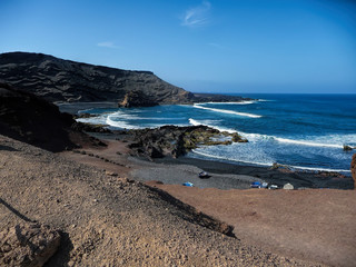 volcano and sea in lanzarote