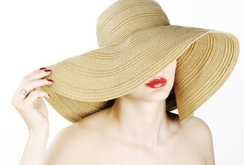 beautiful woman with sunhat and sexy red lips