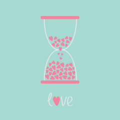 Love hourglass with hearts inside. Blue and pink. Card