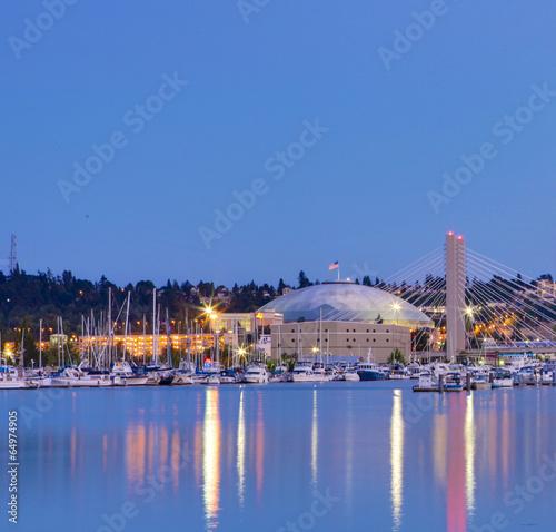 Tacoma dome night view. WA - 64974905