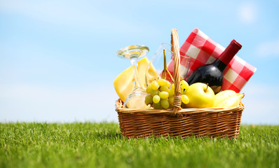 Picnic basket on green field
