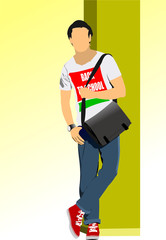 "Young man with T-shirt ""Back to school"". Vector illustration"