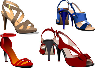 Fashion woman blue shoes poster. Vector illustration
