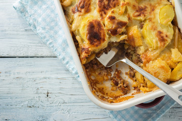 Moussaka, potato-based dish popular in Balkan