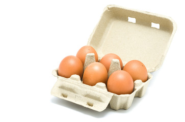 Eggs in a grey paper box