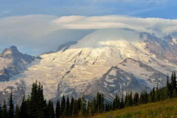Mt. Rainier with lenticular clouds on a windy day