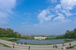 Wide angle cityscape view of Vienna from Gloriette at Schenbrunn