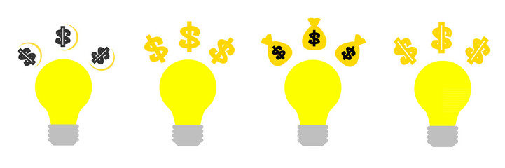 idea bulb with golden dollar sign light