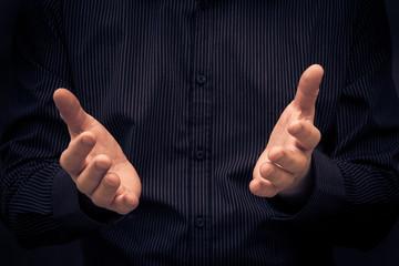 Man gesturing speech showing