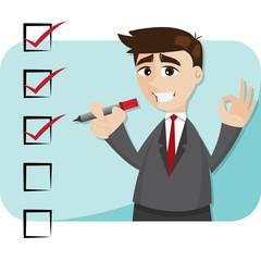 cartoon businessman with checklist