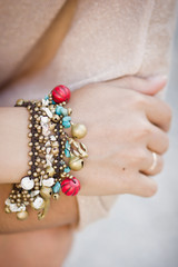 Colorful bracelet with shells and bells