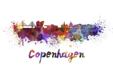 Copenhagen skyline in watercolor