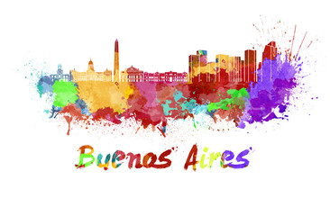 Buenos Aires skyline in watercolor