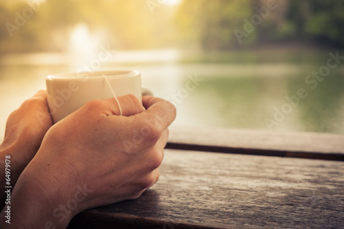 canvas print picture Tea by the lake