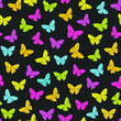 Vector seamless pattern with Spring colorful butterflies