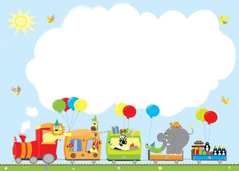 birthday party zoo train with blank space- vectors