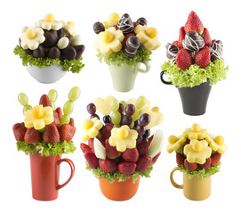 Fruits bouquets of flowers
