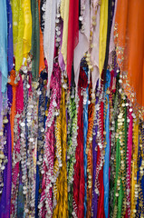 beautiful colorful shawl in street market,India